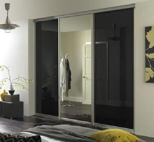 3 Door black glass and mirror 2000-3000mm